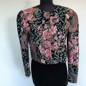 Vintage Quilted Floral & Paisley Cropped Jacket